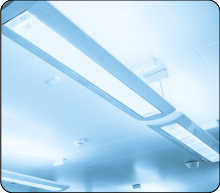 New linear fluorescent lamp in a hanging ceiling fixture